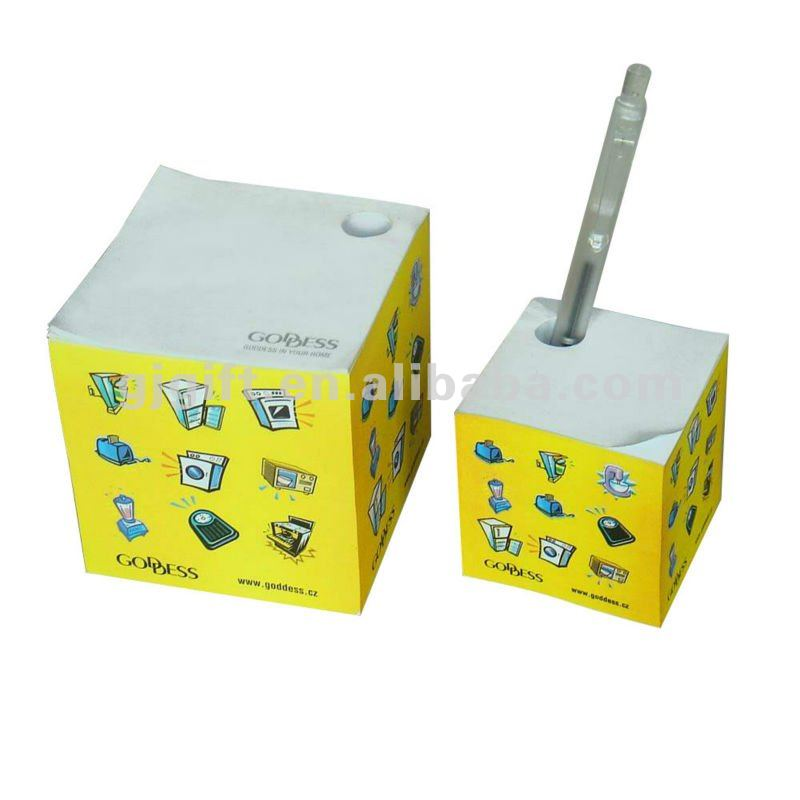 2015 colorful custom logo printing memo cube with pen holder