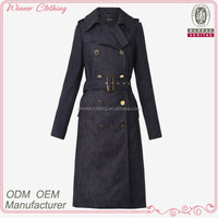 Fashion double-breasted waist belt long ladies denim coat