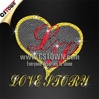 Love story hearts rhinestone iron on holofoil transfer for garment