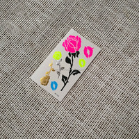 Pink, blue and yellow neon rose and lip metallic gold rose temporary tattoo sticker