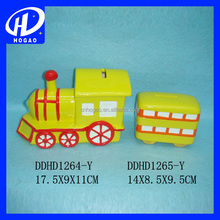 hot sell new style train ceramic piggy coin bank for home ornament