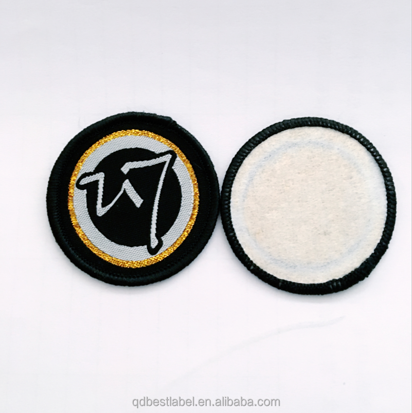 Cheap customized garment woven patches badges with iron on