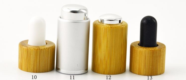 Hot selling new design 10ml 15ml 30ml 50ml glass dropper bottle with bamboo / wood lid cap