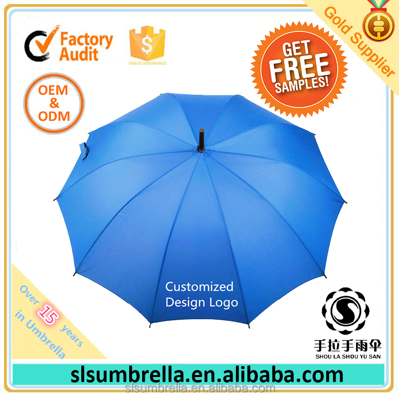 27 Inch 10 Ribs Classic Auto Open Promotional Windproof Large Size Golf Umbrella with Customized Design Logo Printing