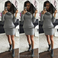 Alibaba Hot Sale Long Sleeve Pockets Cotton Christmas Casual Hooded Dress Women Clothing