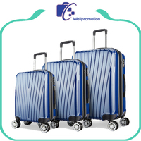 Colorful fashion hard strong travelling 4 wheel luggage set