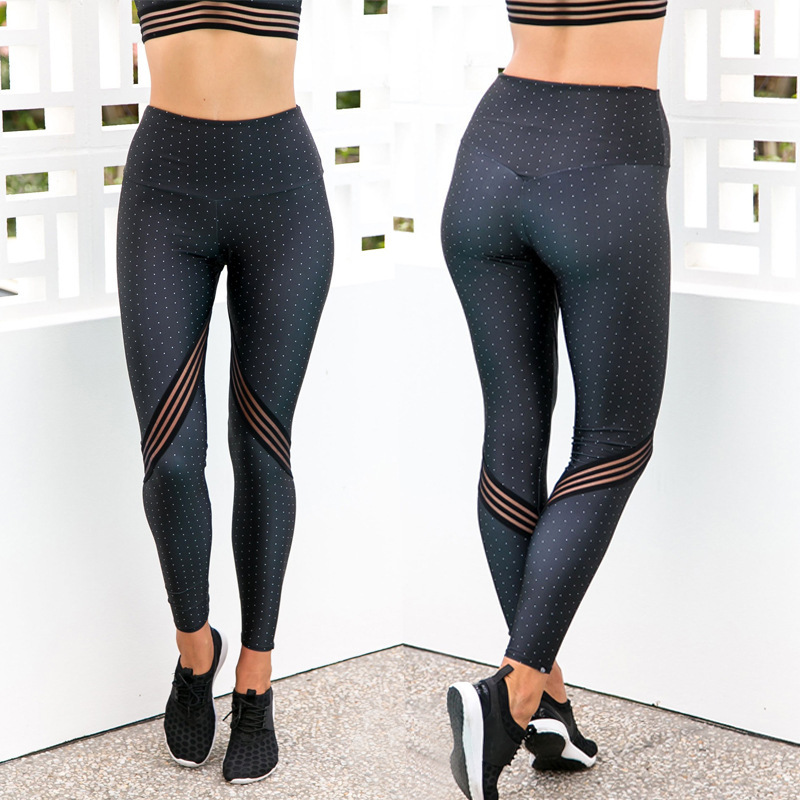 2019 summer women hot style high-waisted mesh yarn patchwork print fitness yoga pants