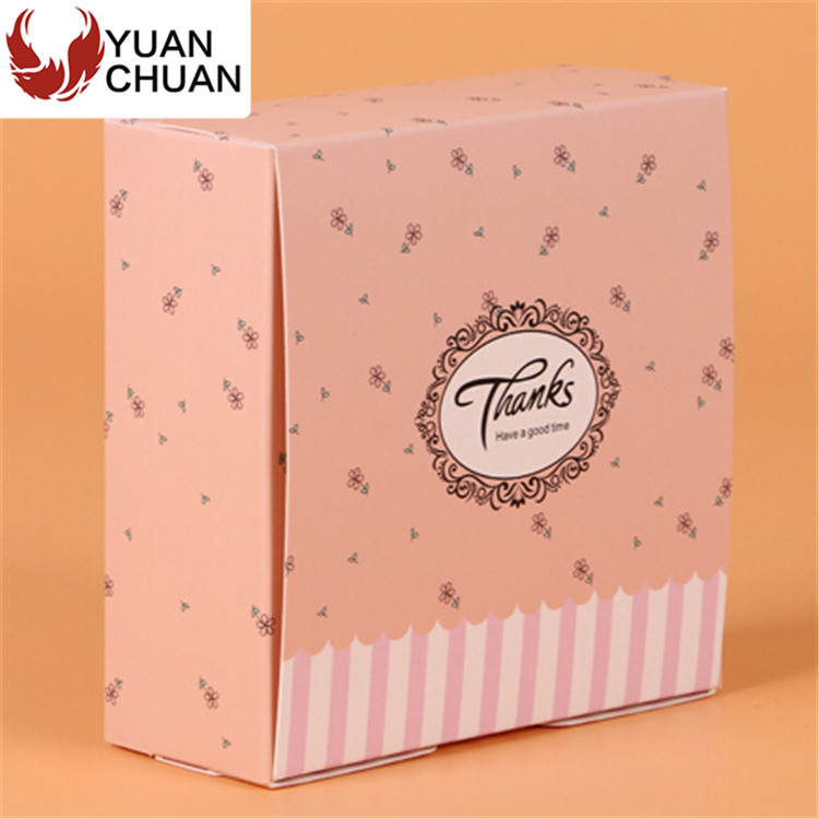 Decorative pink paper food egg tart packing box