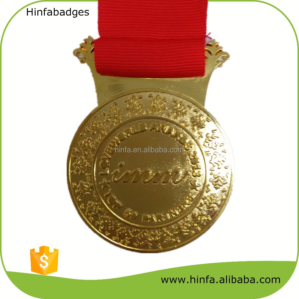 High Quality Gold Plating Engraved Metal Medallions