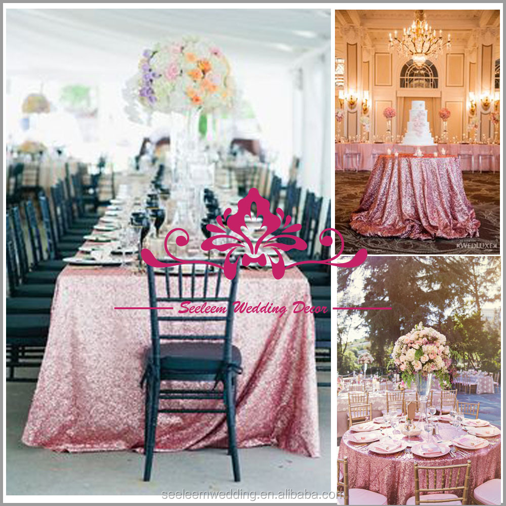 CS005 Pink Sequin Table Overlay Wholesale Sequin Tablecloths