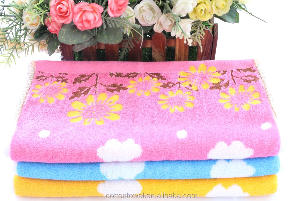 china cotton fiber cheap face towel with flower
