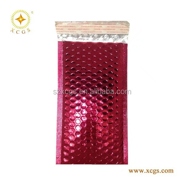 Customized rose red foil padded envelopes for cosmetic