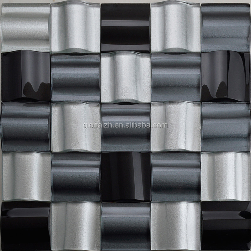 Modern Decorative Glossy Irregular Glass Mosaic Tile HX009