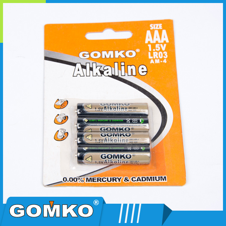 Non-rechargeable 1.5v AAA alkaline batteries