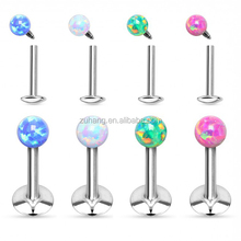 Synthetic Opal Ball Top Internally Threaded 316L Stainless Steel Labret Monroe