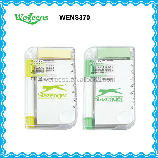 Plastic Cover Sticky Notes with Calendar and Pen