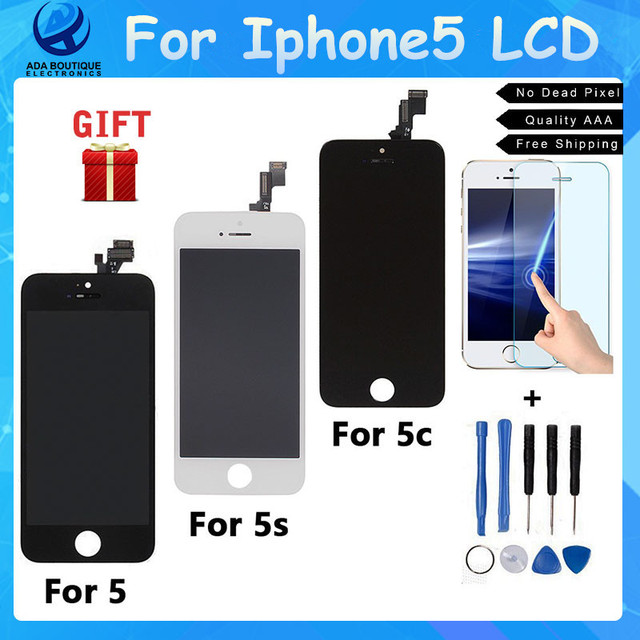1PCS100%No Dead Pixel LCD Display for Iphone5 5s 5c LCD Touch Screen Digitizer Assembly Replacement LCDs black  white fast ship