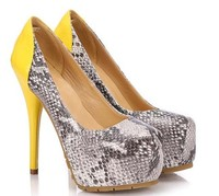 Sexy snake skin women shoe women snake PU shoes platform high heels lady dress shoes factory