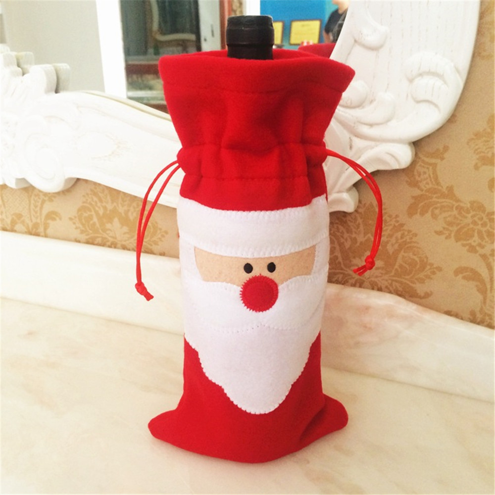 Classic Holiday Christmas Red Wine Bottle Santa Claus Pattern Drawstring Bag For Decoration