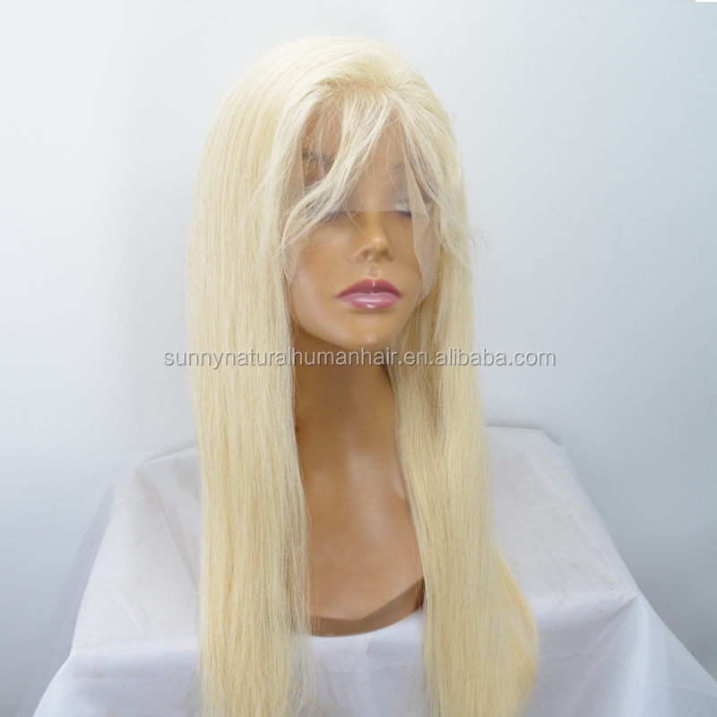 blonde wig human hair full lace wig blonde #613 silky straight Russian hair glueless unprocessed human hair lace front wigs