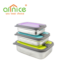 Brand New Rectangular 3pcs stainless steel sandwich box sets /sandwich container with PP lid