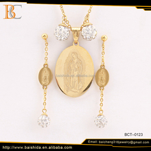 2017 China factory gold plated 316 stainless steel Virgin Mary diamond necklace earring set for women