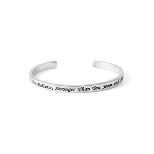 spiritual gifts wholesale,Alloy lettering inspirational silver cuff bracelet