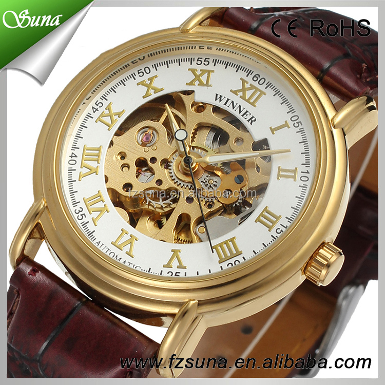 Good Price Genuine Leather Watch Winner 2 Colors Skeleton Automatic Mechanical Watch