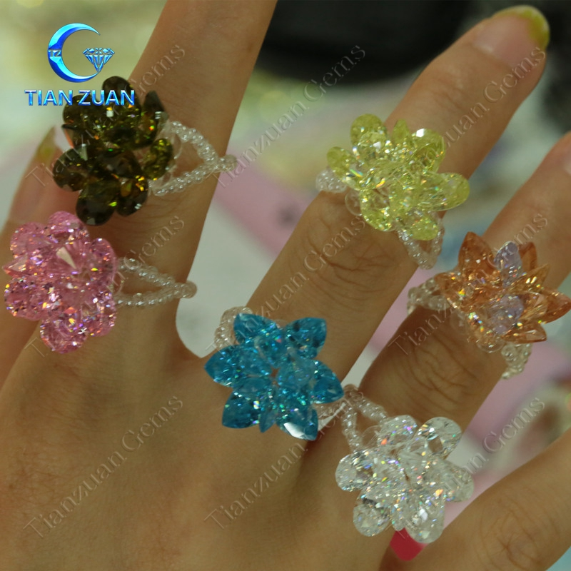 Cubic zirconia ring made together in CZ loose gem stone