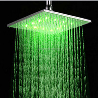 Wholesale And Retail Wall/Ceiling Mounted LED Color Change Square Shower Head Brushed Nickel Rainfall Top Shower Top Sprayer