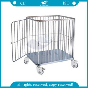 AG-SS062 Hospital stainless steel material movable clothes trolley