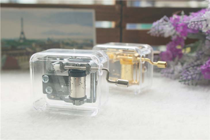 Rectangle hand crank acrylic music box for girl friend