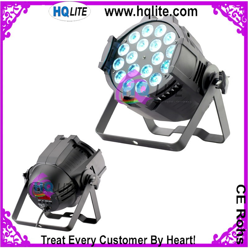 dmx512 disco dj stage lighting led par 64 18x18w rgbwa+uv 6in1 par can