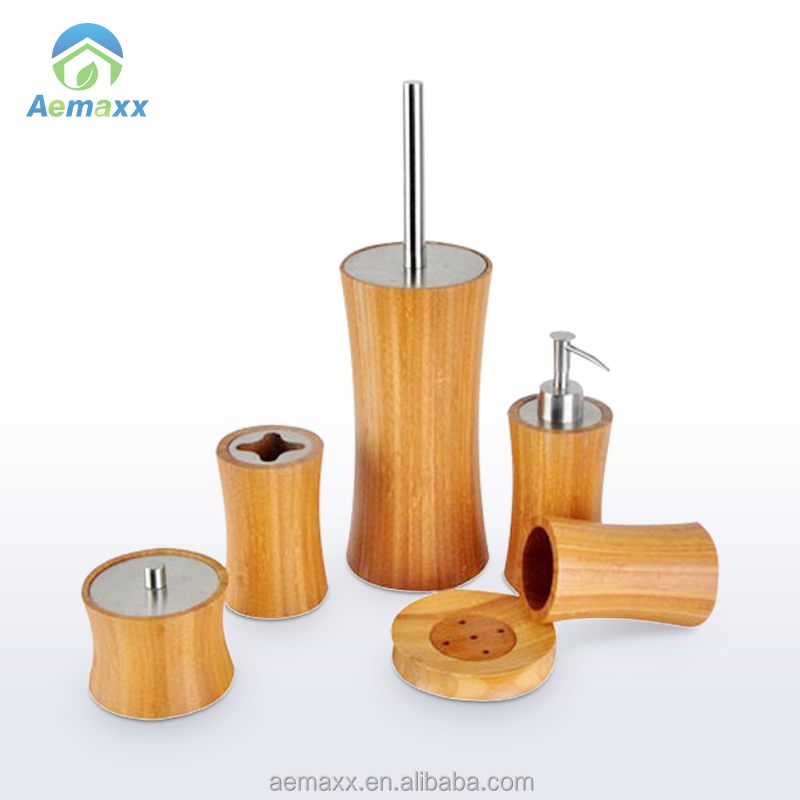 Wooden slim 6pcs toilet brush soap dispenser soap holder bamboo bathroom accessory bath set