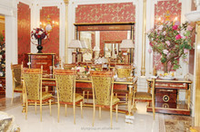 ART 36500 - Italian style dining table and chairs, wooden hand carved with brass/bronze, luxury home european dining room set