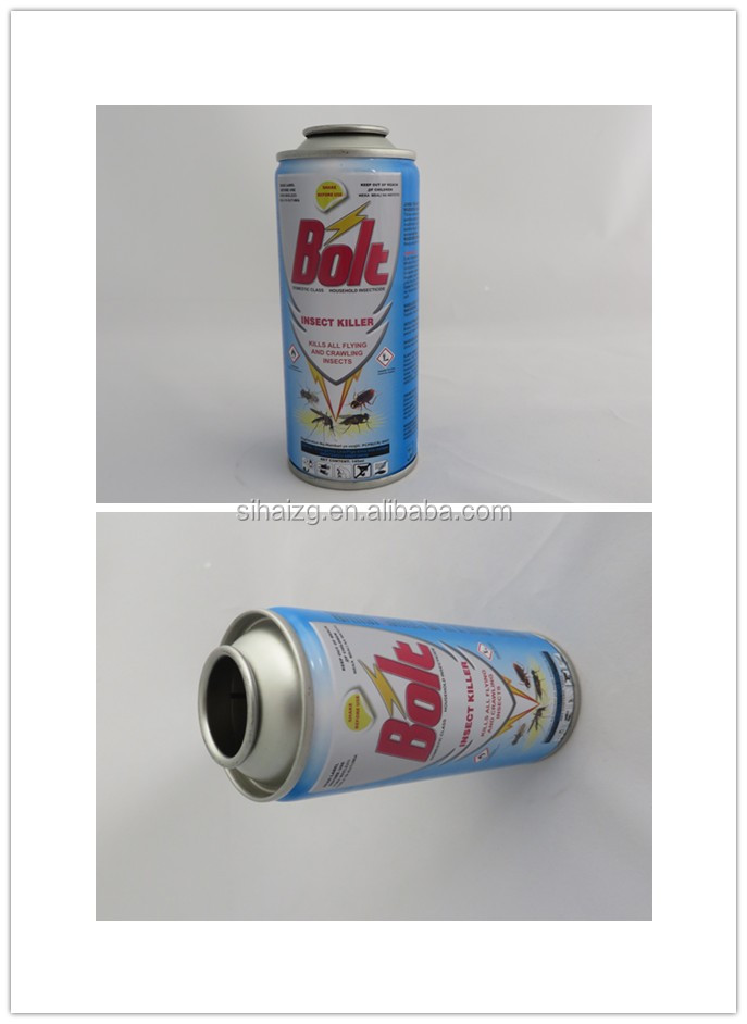 Diameter 52mm empty necked-in printed packaging aerosol tin can for insecticide