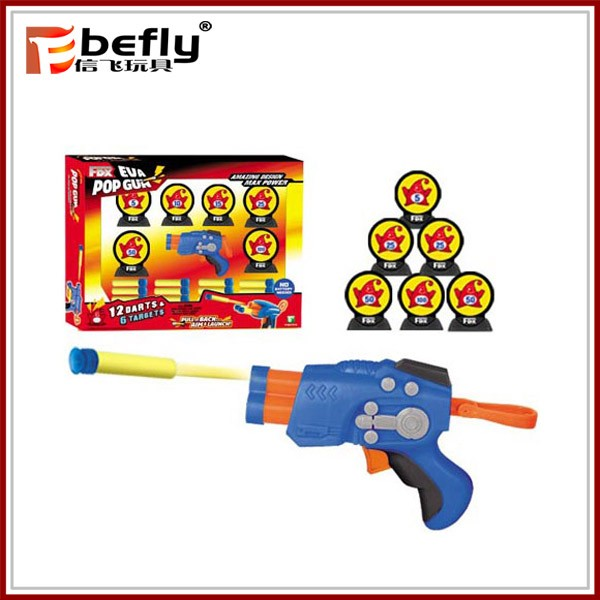 Kids shooting game safety toy soft bullet gun with target