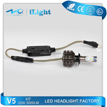 Wholesale waterproof automobiles & motorcycles assembly 25W 3000 lumen 6000k fanless h7 led headlights
