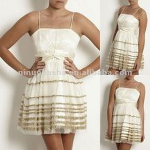 NY-1620 Ivory with gold trim evening dress