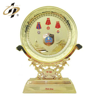High quality customized made gold zinc alloy metal gift souvenir plate