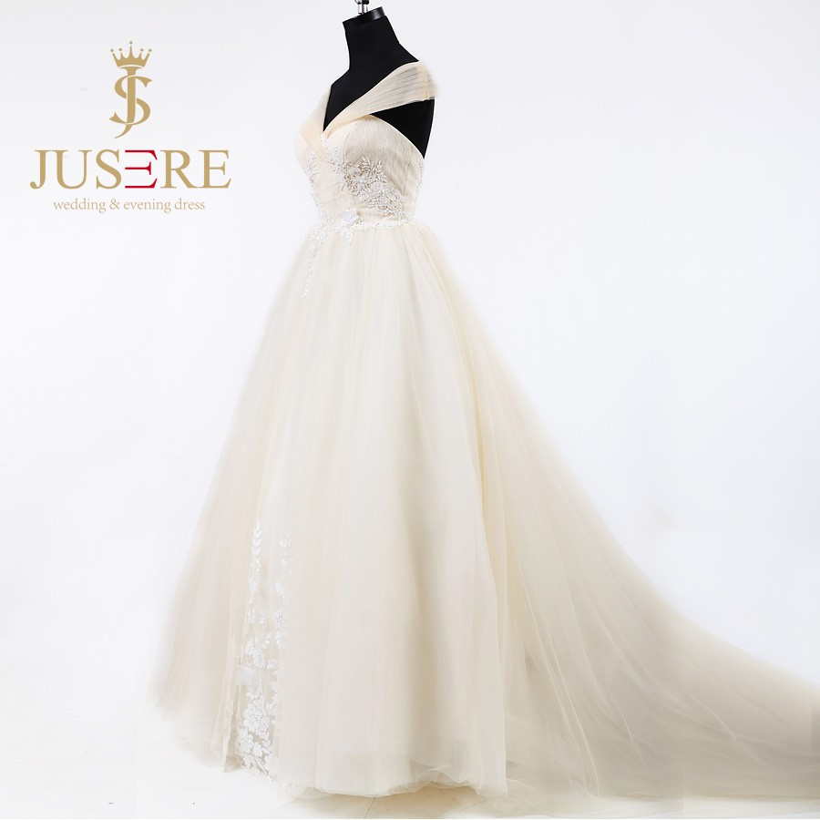 Fashion A Line 3D Flowers Sequined Pleat Tulle Off Shoulder Beaded Lace Up Champagne Wedding Dresses 2016