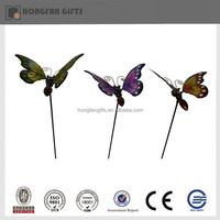 metal butterfly solar powered led stick light