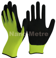 NMSAFETY EN388 3130 13 gauge knit poly coating latex glove/safety glove/work glove foam latex