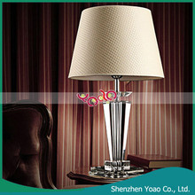 Classic Style Crystal Table Lamp for Bedroom with Fabric Shell
