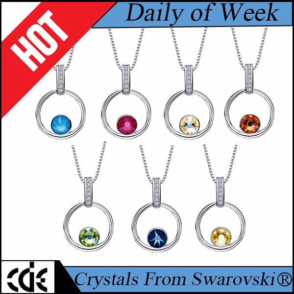birthstone factory custom name 925 sterling silver love heart crystals from Swarovski fashion pendant jewelry necklace for women