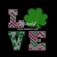 DIY St Patricks day shirt Love Shamrock Glitter Vinyl & Rhinestone Transfer