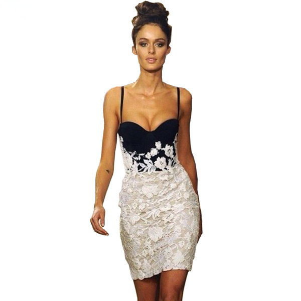 2017 new arrival patchwork black and white lace bandage dress sexy strap mini contrast color party cocktail club women clothing