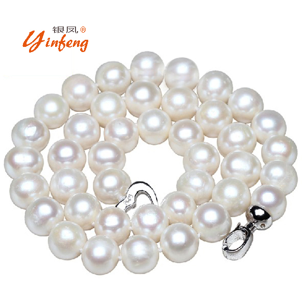 [Yinfeng] 10-11mm Big Natural Pearl Necklace Pearl beads White Necklace Special offer Super Mother's Gift Wedding Jewelry