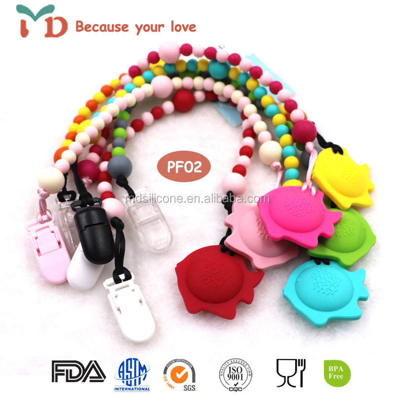 BPA free food grade silicone teething clear pacifier clip chain wholesale