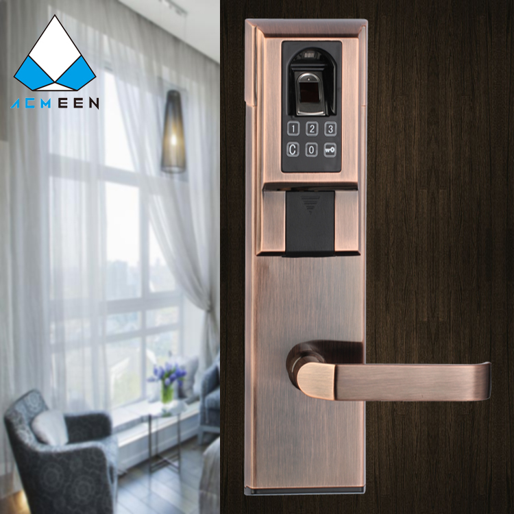 red bronze biometric fingerprint door lock for apartment